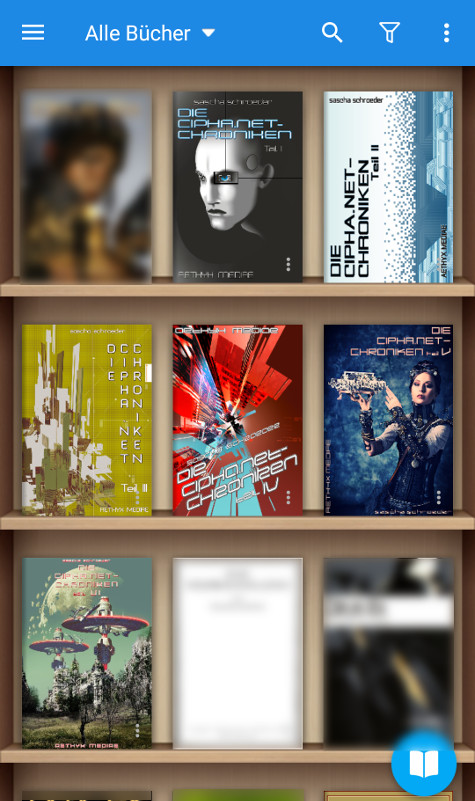 our eBooks as seen in the Moon Reader app for Android devices