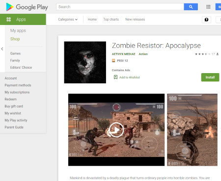 Play Store entry for our 3D game, Zombie Resistor apocalypse
